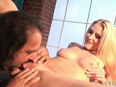 Ron jeremy eats out a hot blonde slut in boots videos