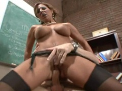 Dirty teacher on a desk fucked in her stockings videos