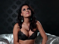 Busty glamour goddess talks in her sexy bra videos