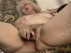 Granny with a nice bush fucks her toy videos