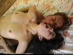 Thick cock guy hammers a girl in vintage porn videos