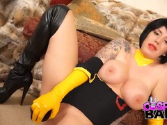 Curvy cosplay babe in yellow gloves fucks a toy videos