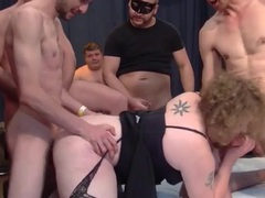 Chubby whore fucked by strangers in a wild gangbang videos