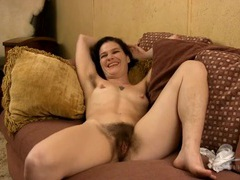 Hairy pussy and armpits are hot on a milf chick movies at lingerie-mania.com