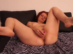Solo german redhead sensually slides a toy into her cunt videos