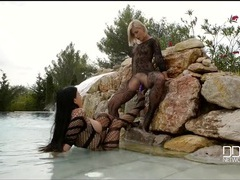 Lesbians in body stockings fuck toys in the pool videos