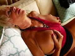 Tanned granny fondles her big sexy tits videos