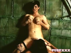 Rough lesbian sex with hotties in the dungeon videos