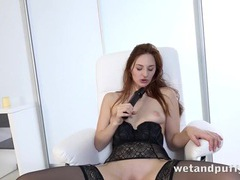 Leggy lingerie babe fucks a long black dildo videos