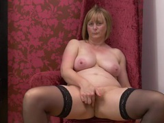 Stockings are hot on a big tits mature babe videos