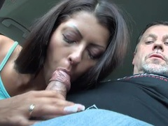 Slutty girl blows and old guy in the car movies at kilogirls.com