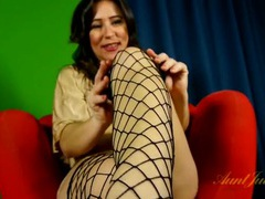 Mommy puts on fishnets to masturbate solo videos