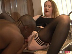 Housewife goes black in her kitchen videos