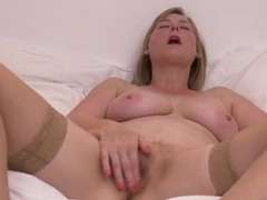 Cute and flirty blonde milf in bed to masturbate videos