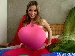 Balloon fetish fun with a teen in pink tights movies at lingerie-mania.com