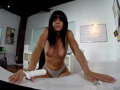 Big tits babe in lace panties masturbates at the desk movies at lingerie-mania.com