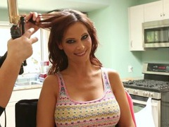Pornstar gets her hair done before a scene movies at lingerie-mania.com
