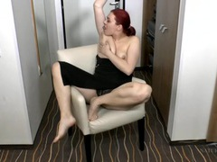 Stripping amateur redhead has a lovely bush movies at lingerie-mania.com