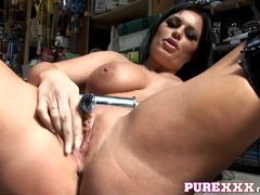 Thick babe fucks a car part in the garage movies at kilotop.com