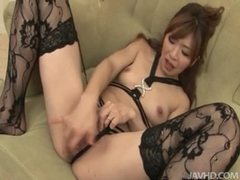 Sexy patterned stockings on a japanese girl clip