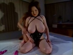 Japanese girl in latex corset big titty play tubes at japanese.sgirls.net