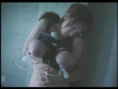 Suction play with her big japanese tits tubes at lingerie-mania.com