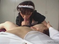 Horny japanese maid wakes guy up with a sloppy blowjob! videos