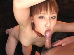 Japanese girl in bondage sucking and toyed tubes at japanese.sgirls.net