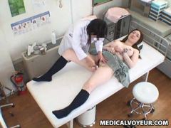 Japanese girl in short skirt has tits examined tubes at lingerie-mania.com