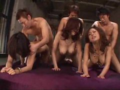 Japanese orgy with lots of cumshots videos