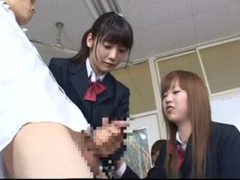 Japanese schoolgirls play with frozen teacher tubes at lingerie-mania.com