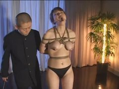 Japanese slut in bondage lactates tubes at japanese.sgirls.net