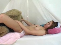 Japanese girl humping teddy bear and toys videos