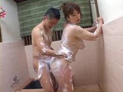 Soapy japanese girl gives her body tubes at japanese.sgirls.net