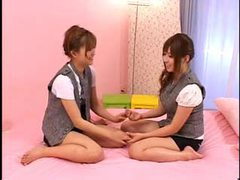 Japanese girls in pink bed making pussy happy movies at sgirls.net