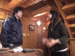 Japanese girl titjob at a cabin in the woods tubes at japanese.sgirls.net
