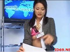 Japanese girls fingered during the news videos