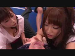 Three horny japanese girls help him out videos