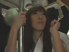 Japanese girl takes cumshots on the bus tubes at lingerie-mania.com