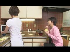 Japanese lesbians fool around in the kitchen videos