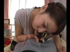 Japanese girl performs well on a cock tubes