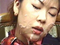 Japanese girl gets messy in bukkake videos