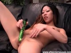 Petite asian hottie uses her new green dildo movies at sgirls.net