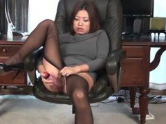 Asian in sweaterdress has dildo sex videos