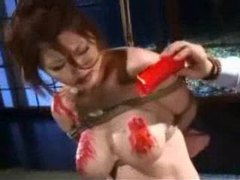 Asian girl tied and hot wax on her tits tubes at chinese.sgirls.net