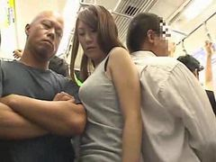Big boobs girl molested on a train tubes at korean.sgirls.net