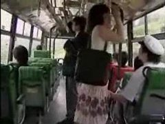 She strokes him and he fingers her on the bus tubes at sgirls.net