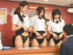 Pretty asian girls get naughty in fast food restaurant tubes at korean.sgirls.net