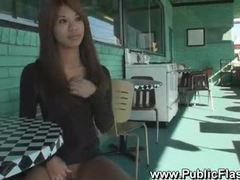 Chick on the street showing tits and pussy tubes at thai.sgirls.net
