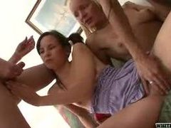 Girl joins trannies for orgy scene movies at kilotop.com